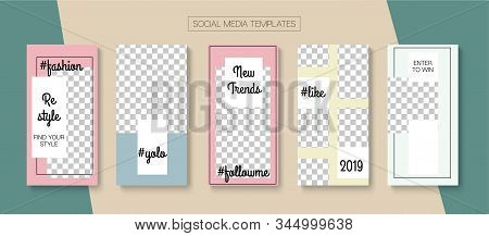 Social Stories Cool Vector Layout. Tech Sale, New Arrivals Story Layout. Blogger Simple Design, Soci