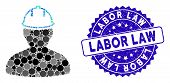 Mosaic person in hardhat icon and rubber stamp seal with Labor Law caption. Mosaic vector is composed with person in hardhat icon and with random spheric spots. Labor Law stamp uses blue color, poster
