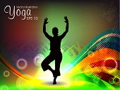Female silhouette in yoga posture on colorful wave background. EPS 10. poster