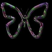 Multi colored butterfly outline on black background. poster