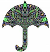 A colorful umbrella with bright patterned design. poster