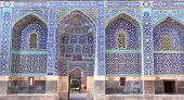 Arches with mosaics at the entrance to Shrine Ensemble, mausoleum and khaneghah of Sheikh Safi al-din, Ardabil, Iran. Inscription at the entrance - text from the Quran. UNESCO world heritage site poster