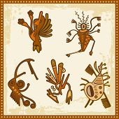 Vector set of African tribal ornaments. poster