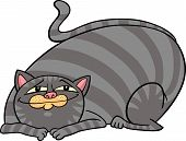 cartoon illustration of cute gray fat tabby cat poster