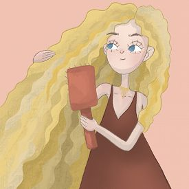 Fair Haired Curly Girl Brushing Her Long Hair. Haicare Concept For Your Projects.