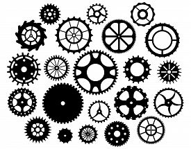 Collection Of Gears . Isolated Design Elements. Vector Illustration