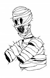 Angry Mummy With Severed Hands. Creepy Monster. Vector Illustration