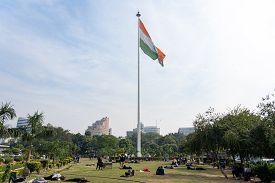 New Delhi, India - December 4, 2019: Big Flagpole With The Indian Flag In Central Park