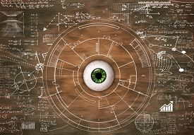 Eye On Wood Drawn With Math Formulas And Information. Visual Memory Concept.