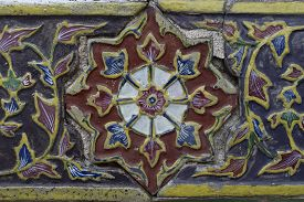 Texture Of Ancient Ceramic Tile Decorated With Thai Art