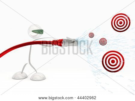 3d graphic of a isolated sight disk icon coming from data cable
