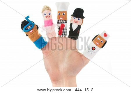 Hand Holding Five Finger Puppets