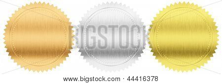 gold, silver and bronze seals or medals set isolated with clipping path included