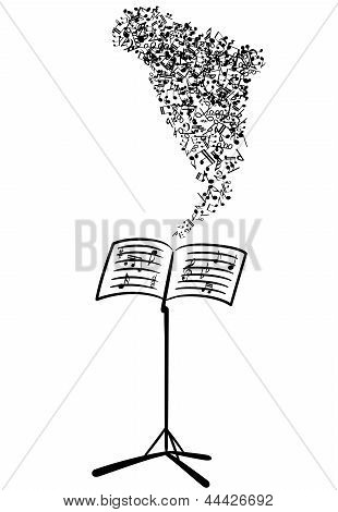 Lectern with flying musical notes
