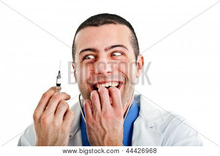 Crazy doctor looking at a syringe