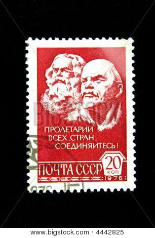 Old Soviet Postage Stamp With Marx And Lenin
