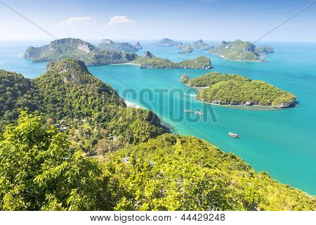 View from highest viewpoint of Angthong national marine park near Koh Samui, Thailand
