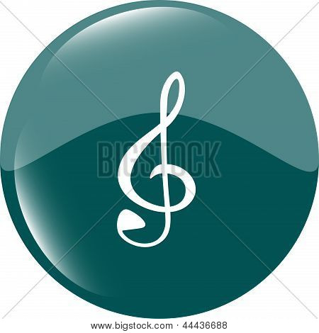 Music Round Glossy Web Icon On White Background