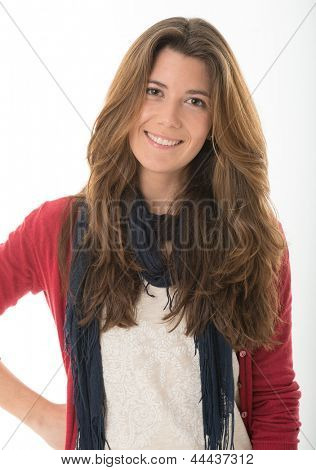 Portrait of an smiling cute young brunette
