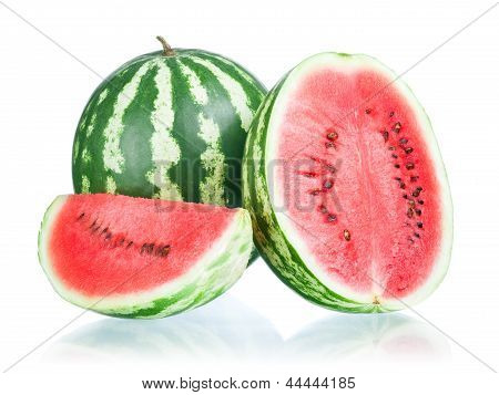 Whole Watermelon, Half And Slice On A White Background