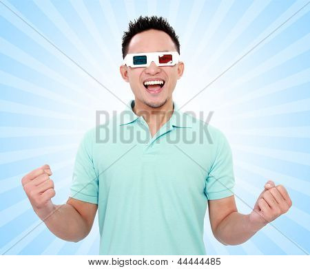 Happy Man With 3D Movie Glasses
