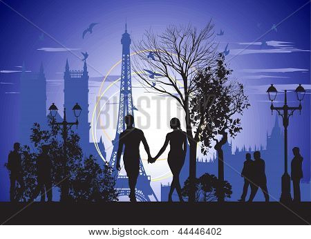 Couple In Love Walking On The Streets Of Paris