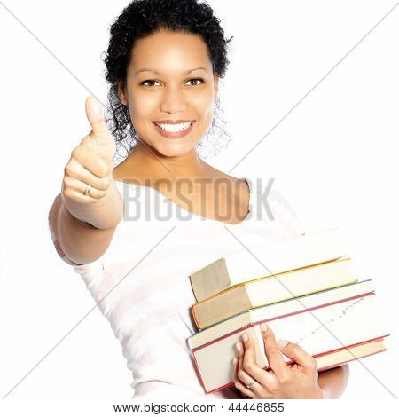 Woman Carrying Textbooks Giving A Thumbs Up
