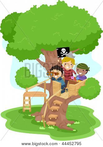 Illustration of Little Boys playing as Pirates on a Tree