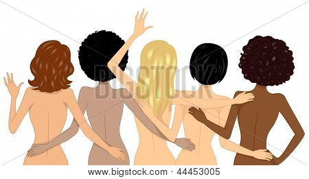 Illustration showing Back View of Nude Multi-racial Girls on the Beach