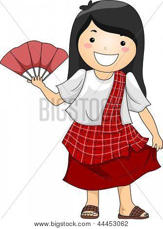 Illustration of a Happy Little Girl wearing Traditional Philippine Costume Baro't Saya with Abaniko