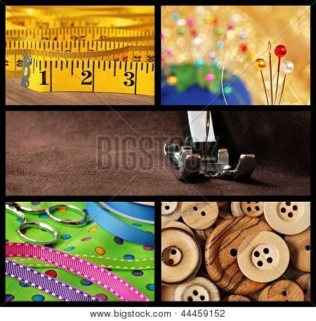 Sewing collage includes macro images of tape measure, pincushion, threaded machine needle, colorful polka dot fabric with decorative ribbons, scissors, and wooden buttons.