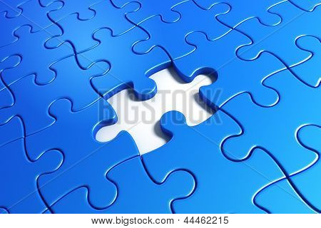 3d rendering of blue puzzle pieces with one piece missing