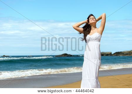 Happy Woman On Summer Vacation
