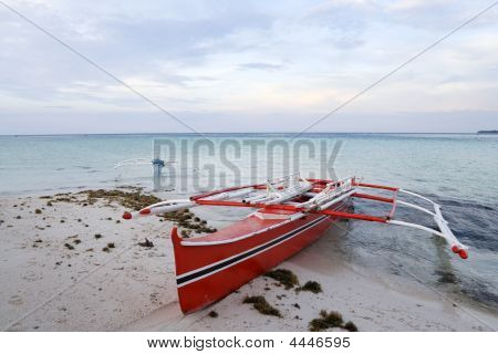 outrigger banka boats on the beach camiguin island mindanao the philippines poster