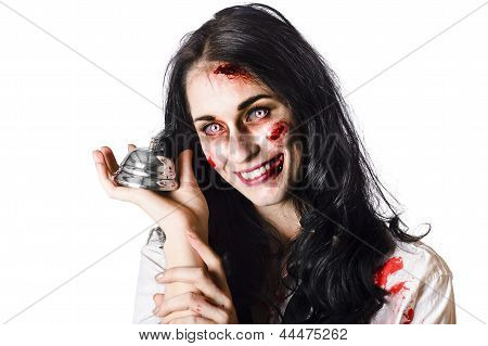 Smiling Sinister Woman Giving Bad Service