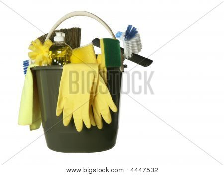 Isolated Cleaning Supplies Bucket