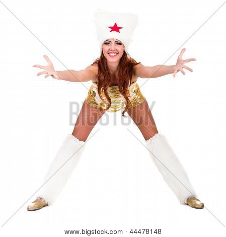 woman cossack dancer dressed in stylish costume