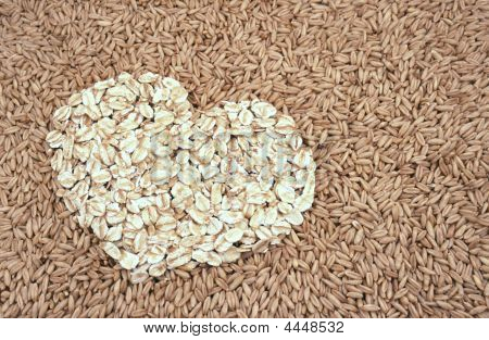Oats Seeds And Oat flakes Heart  Background