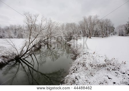 Spring Snow by the Creek