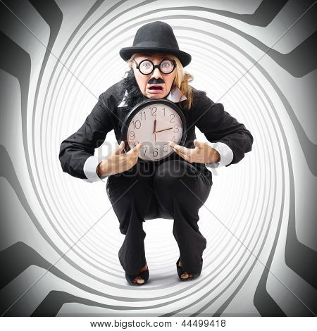 Vintage Business Man Stuck With Clock. Time Crunch