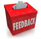 A red Feedback box for collecting employee or customer ideas, thoughts, comments, reviews, ratings, suggestions or other communication or information poster
