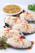 mixed and cooked seafood Ex: fish shellfish prawn squid on shells poster