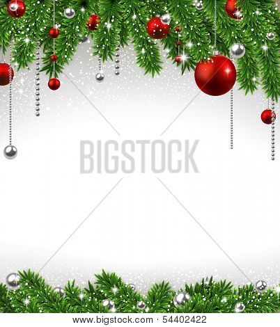 Christmas background with fir twigs and red balls. Vector illustration.