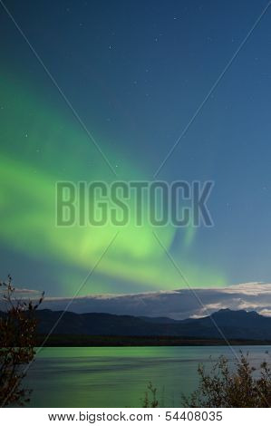 Moon-lit Clouds Northern Lights Over Lake Laberge