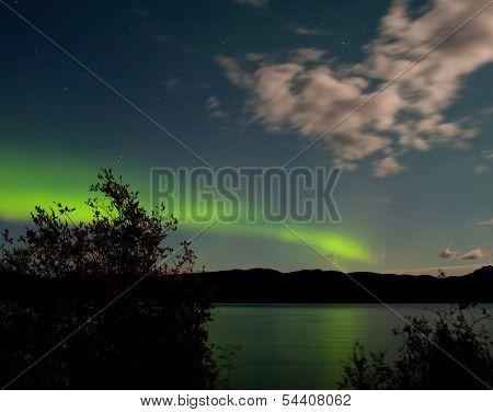 Aurora Borealis Moon-lit Clouds Over Lake Laberge