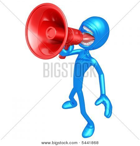 3D Character Shouting With Megaphone