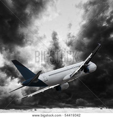 Jet In A Dark Stormy Sky