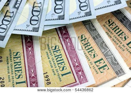 United States Savings Bonds with American Currency