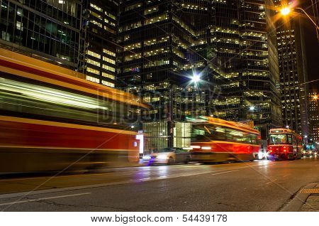Street cars at night in Toronto