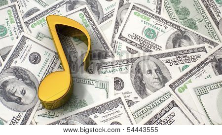 Music Note On The Dollar Background
